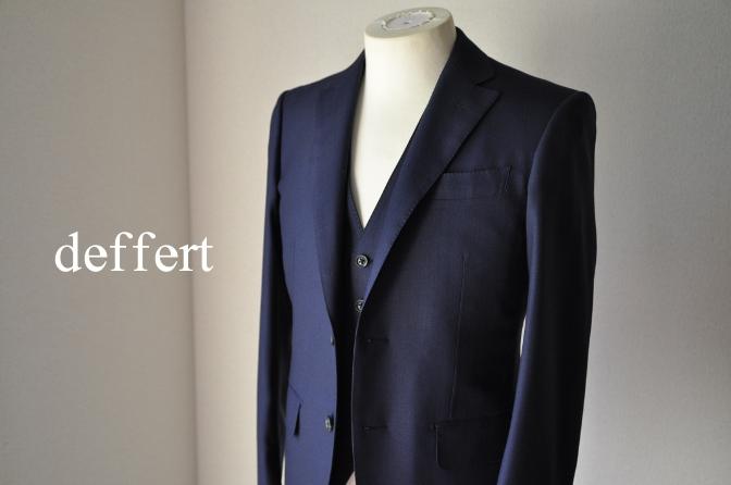 d48 お客様のスーツの紹介-ネイビーヘリンボーンスリーピース- 名古屋の完全予約制オーダースーツ専門店DEFFERT