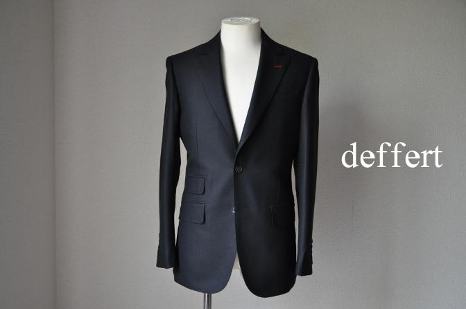 d51 お客様のスーツの紹介-CANONICO ブラック ドット織柄 スーツ-