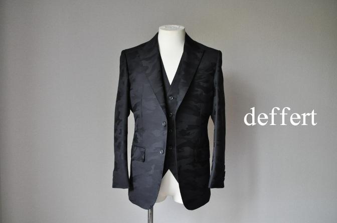 d56 お客様のスーツの紹介-COLLEZIONI BIELLESI ブラック迷彩スリーピース-