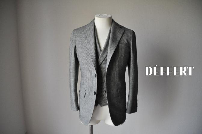 d63 お客様のスーツの紹介-千鳥格子フランネル ダブルのベストでのスリーピース-