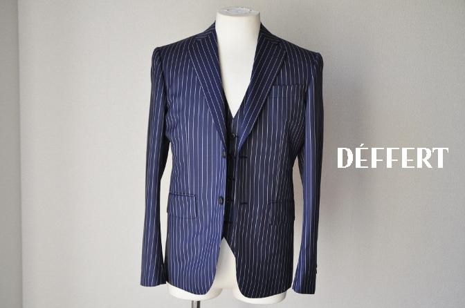 d64 お客様のスーツの紹介-裏地がスカル柄のネイビーストライプ スリーピース-